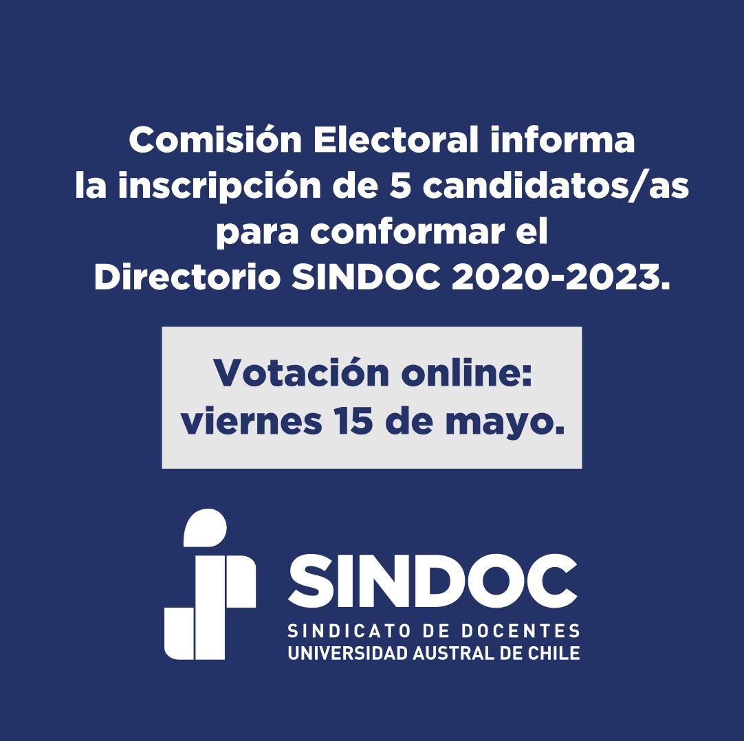 Comisión electoral informa la inscripción de 5 candidaturas para la elección del nuevo Directorio SINDOC.