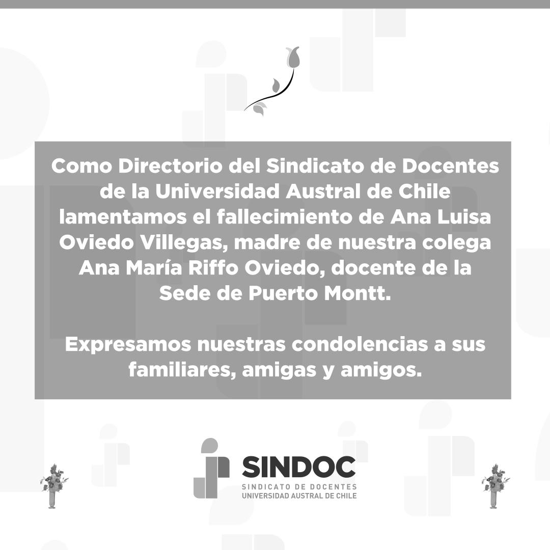 Lamentamos el fallecimiento de Ana Luisa Oviedo Villegas, madre de nuestra colega Ana María Riffo Oviedo.
