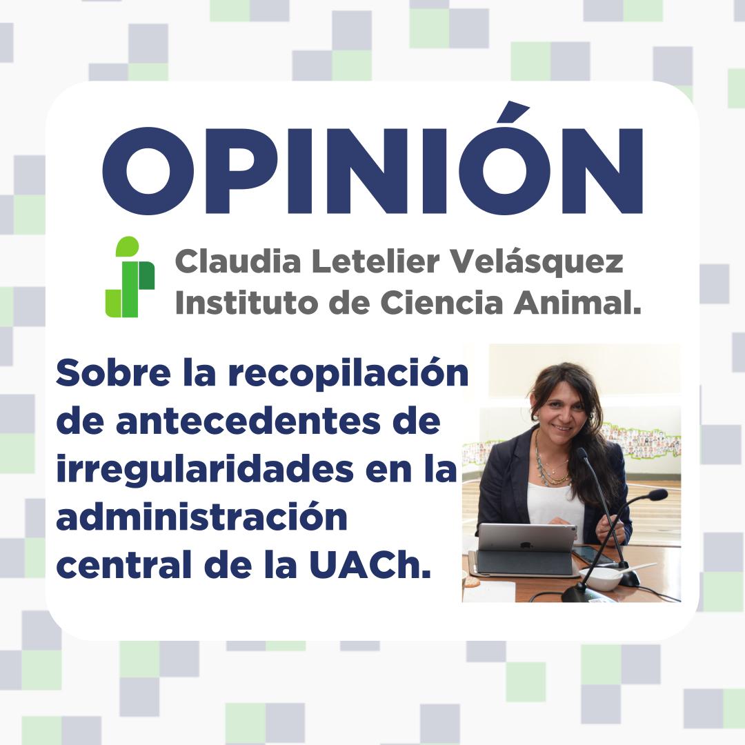 Opinión de Claudia Letelier Velásquez.
