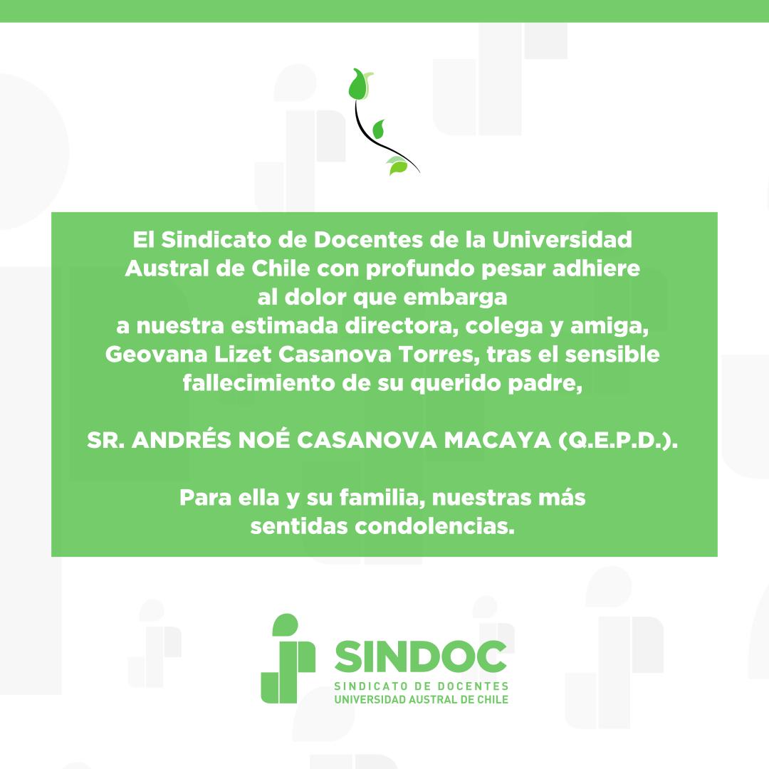 Lamentamos el fallecimiento de Andrés Noé Casanova Macaya, padre de nuestra colega Geovana Casanova Torres.