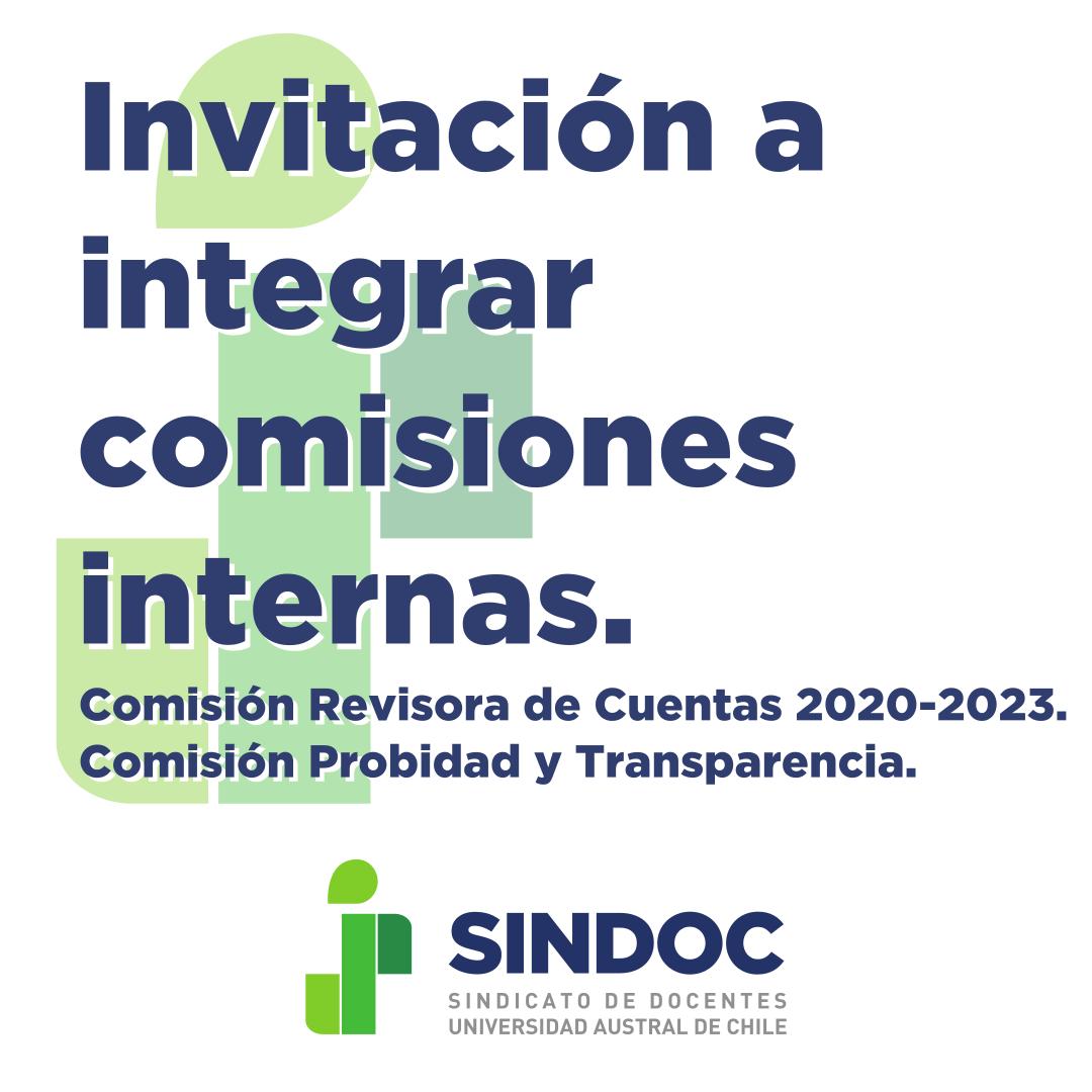 Plazo para inscribirse en comisiones SINDOC: 22 de julio 2020.