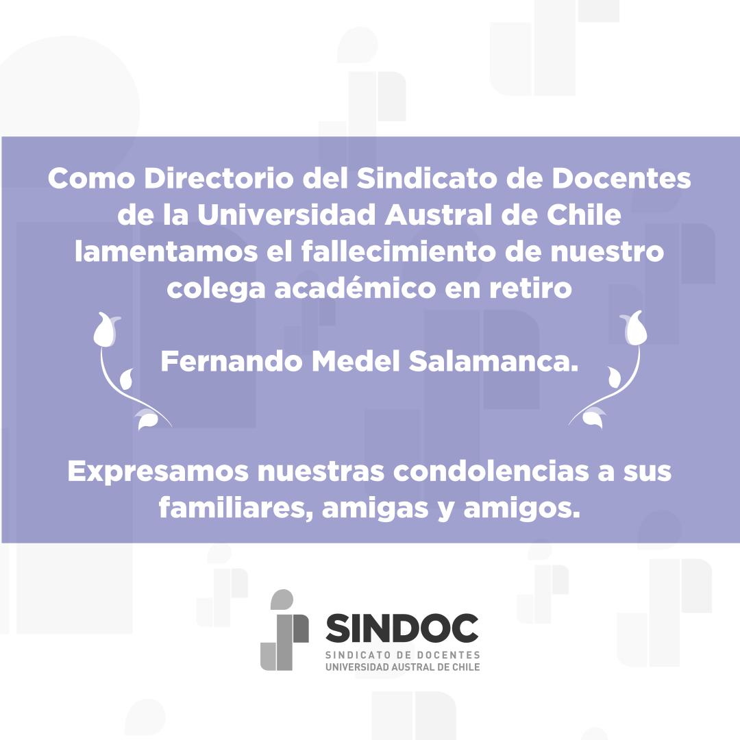 Directorio SINDOC lamenta el fallecimiento de Fernando Medel Salamanca.