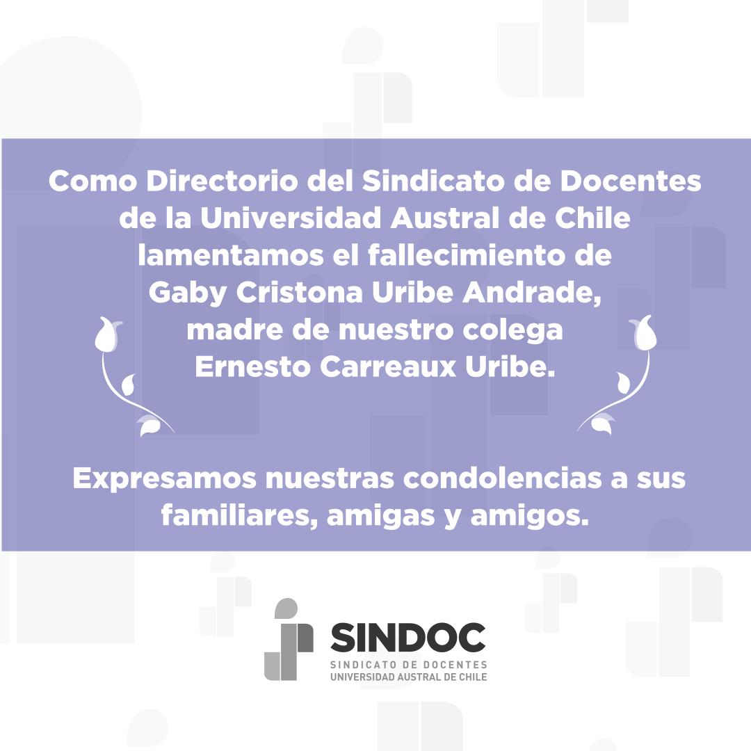 Lamentamos el fallecimiento de Gabi Cristona Uribe Andrade, madre de nuestro colega Ernesto Carreaux Uribe.