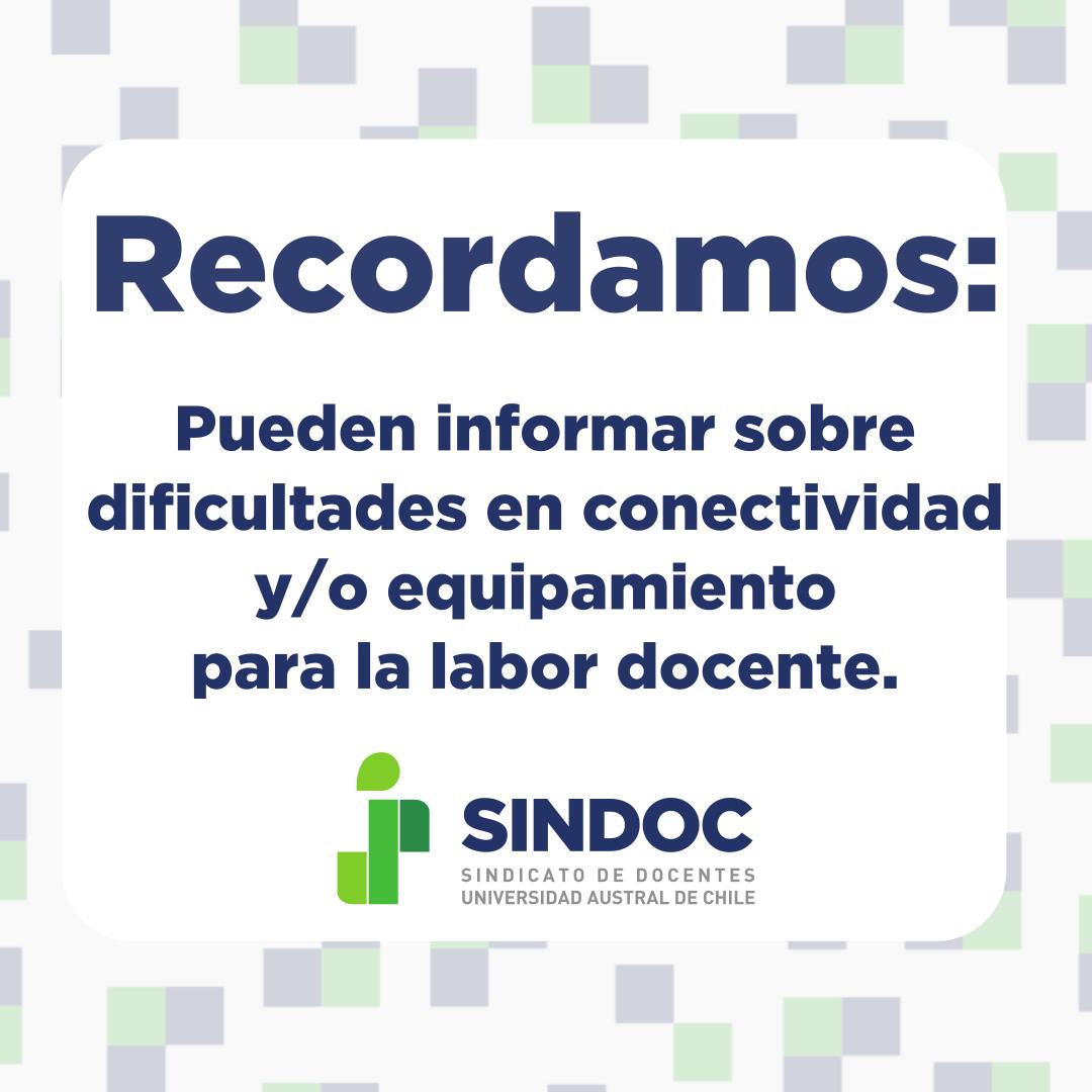 Recordamos informar sobre dificultades en conectividad y/o equipamiento para la labor docente.