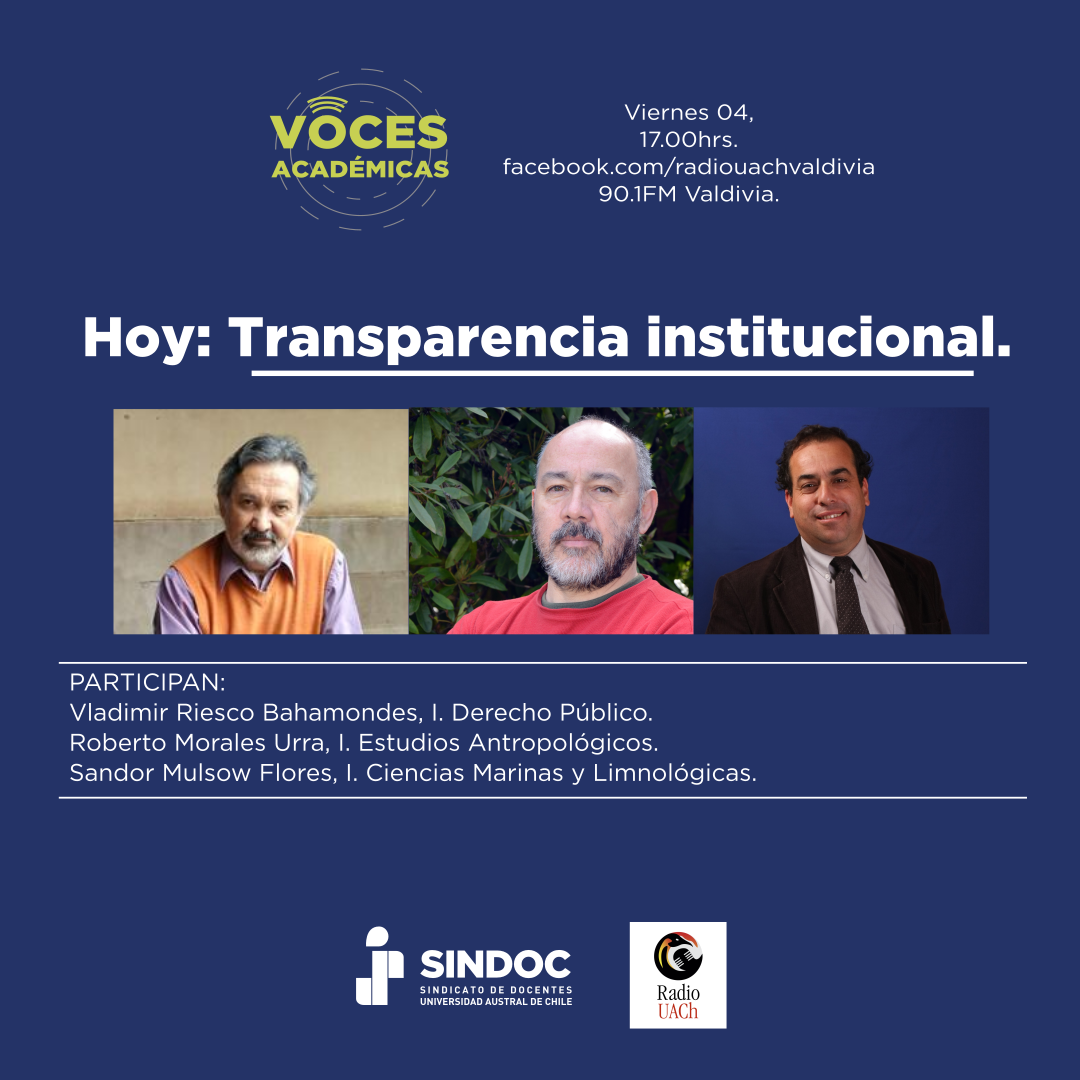 Programa Voces Académicas (4 sep.): Transparencia institucional.