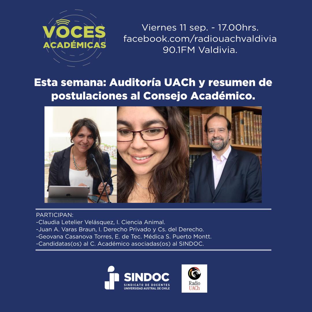 Voces Académicas de Radio UACh (11 sep. 2020): Auditoría Externa UACh y Elecciones Consejo Académico.