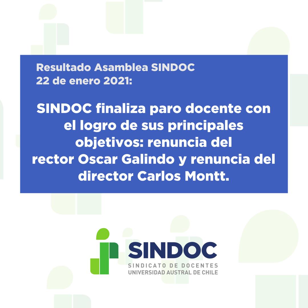 Resultado Asamblea 22 de enero 2021: SINDOC finaliza paro docente.