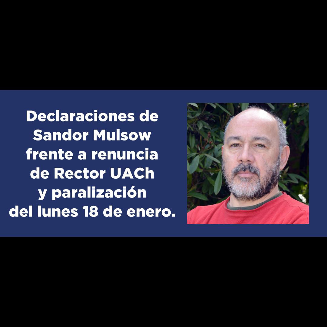 Declaraciones de Sandor Mulsow Flores, presidente SINDOC, frente a renuncia de Rector UACh y paralización de actividades.