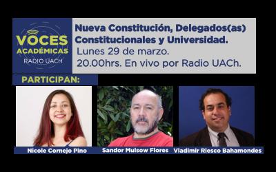 Programa Radial Voces Académicas: 29 de marzo 2021. Nueva Constitución, Delegados(as) Constitucionales y Universidad.