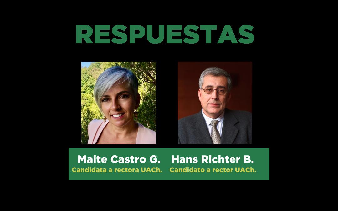 Respuestas de Maite Castro G. y Hans Richter B. a las preguntas enviadas por asociados y asociadas al SINDOC para el debate de postulantes a rector(a) UACh