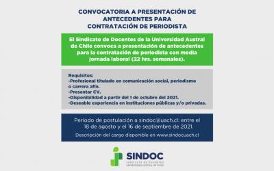 CONVOCATORIA A PRESENTACIÓN DE ANTECEDENTES PARA CONTRATACIÓN DE PERIODISTA
